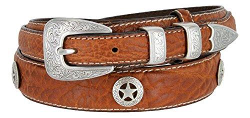 Western Silver Engraved Rodeo Star Ranger Genuine Leather Bison Belt for Men (Tan, ()