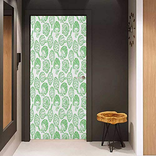 Onefzc Wood Door Sticker Artichoke Vegetables Hand Drawn Cooking Ingredients Healthy Foods Vegan Way Go Green Easy-to-Clean, Durable W23 x H70 Pistachio Green