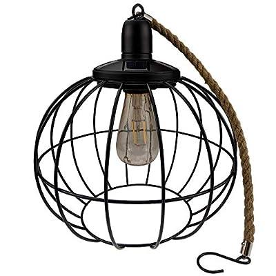 Yard Island Solar LED Edison Bulb Large Hanging Cage Lantern (Style 2)