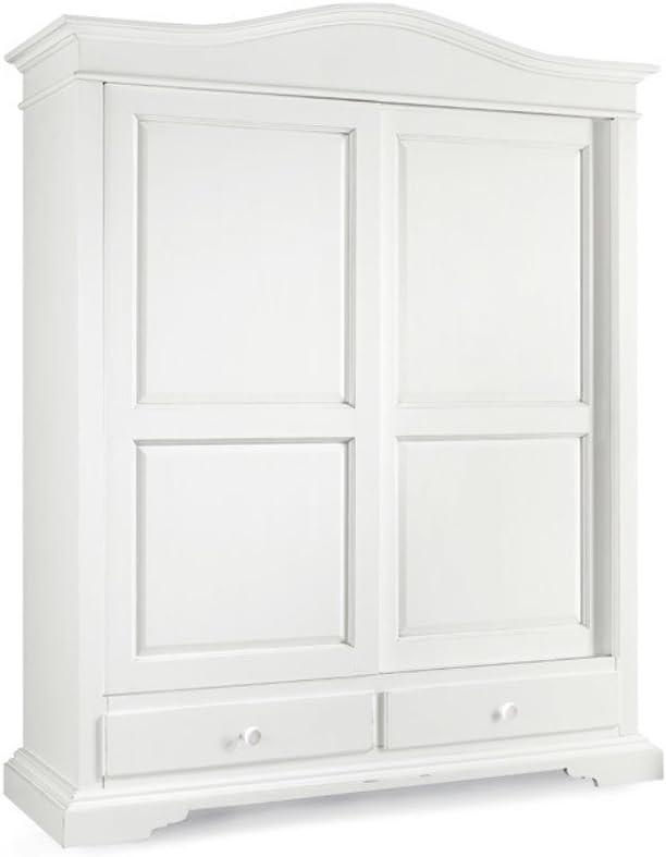 InHouse srls - Armario con 2 puertas correderas y 2 cajones, Arte Povera, de madera maciza y MDF con acabado en blanco mate - Medidas: 180 x 67 x 226: Amazon.es: Hogar