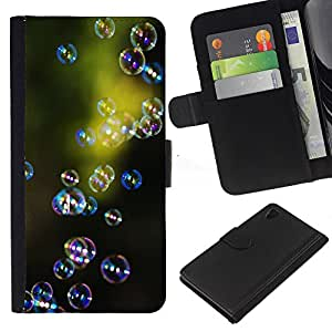 Sony Xperia Z4 / Sony Xperia Z4V / E6508 Modelo colorido cuero carpeta tirón caso cubierta piel Holster Funda protección - Green Nature Reflective Reflection