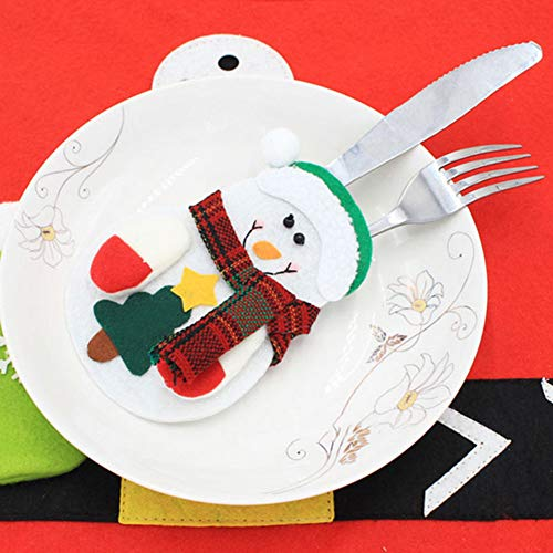 CHoppyWAVE Cutlery Pouch, Santa Snowman Cutlery Holder Utensil Bag Fork Knife Pocket Xmas Table Decor - Snowman by CHoppyWAVE (Image #8)