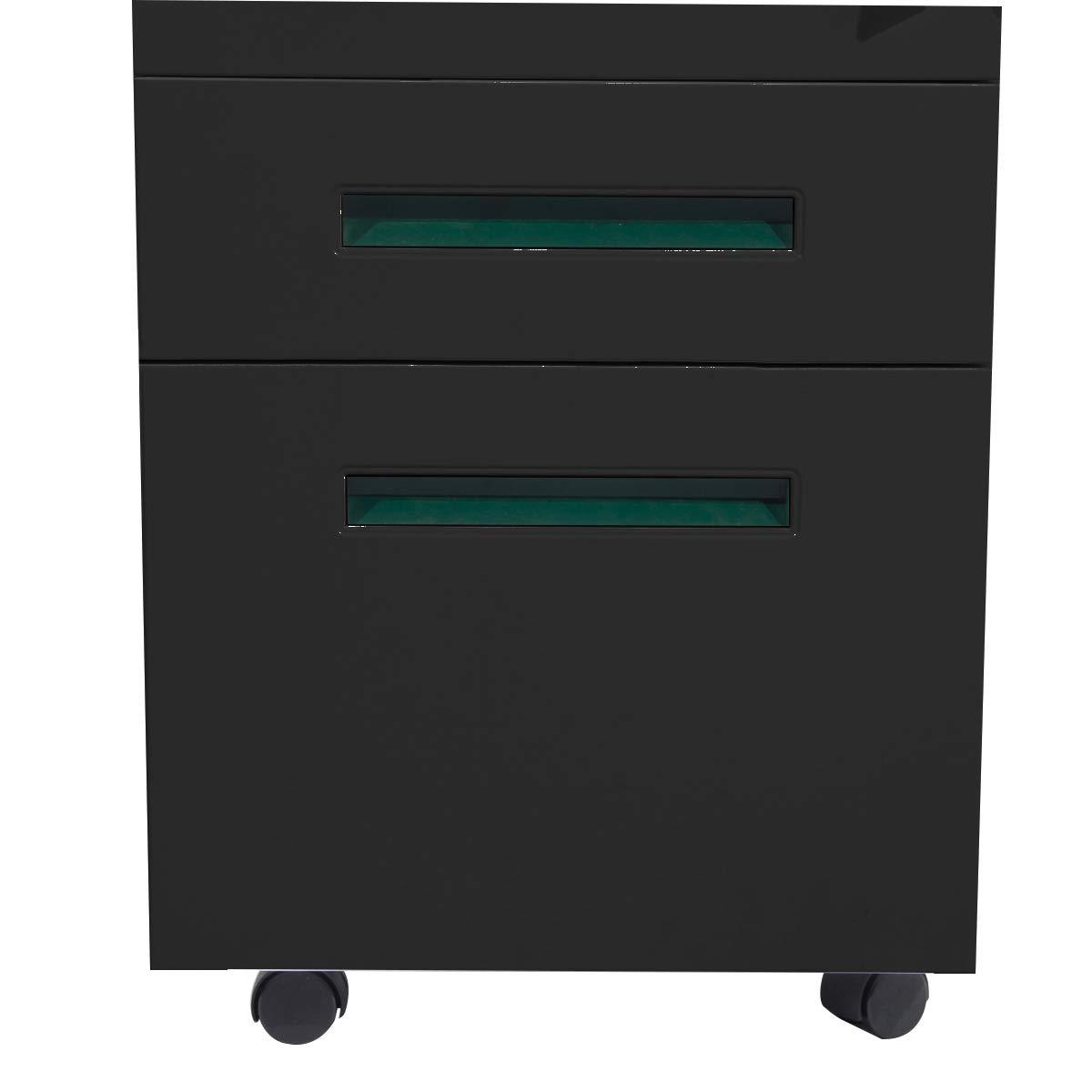 SogesHome 3-Drawer Black File Cabinet Under Desk Office Drawers for Legal Letter File NSD-CA-HCCBN003-B