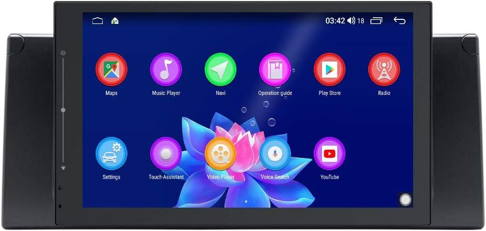 JOYFORWA Android 8.1 4GB + 64GB Radio de Coche Navegación por satélite GPS de 9 Pulgadas con DSP/Android Auto/Maletero rápido / 1280 × 720 / Control del Volante para BMW 5 Series E39 E53