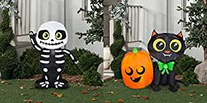 Airblown Inflatable Cute Halloween Decor 3.5 ft Tall by Gemmy Industries (Cute Skeleton) with Airblown Inflatable-Cat and Pumpkin by Gemmy Industries (Set 3)