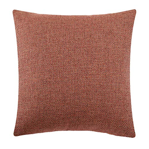 Jepeak Burlap Linen Throw Pillow Cover Rhombus Pattern Cushion Case, Solid Thickened Farmhouse Modern Home Decorative Square Luxury Pillow Case for Sofa Couch Bed (Deep Orange/Coffee, 22 x 22 Inches)