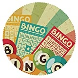 iPrint American Round Tablecloth [ Vintage Decor,Bingo Game with Ball and Cards Pop Art Stylized Lottery Hobby Celebration Theme,Multi ] Fabric Home Set