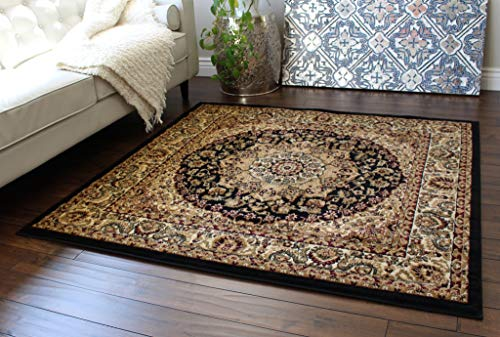 Bellagio Patio - Bellagio Traditional Square Area Rug Design 401 (5 Feet 3 Inch X 5 Feet 3 Inch) Black