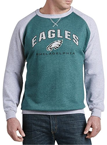 Philadelphia Eagles NFL Mens Raglan Fleece Crew Sweatshirt Big & Tall Sizes (4XL)