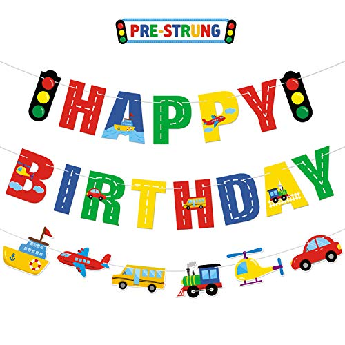 Transportation Happy Birthday Banner Car Bus Train Plane Ship Helicopter Traffic Light Photo Props Garland for Kids Transportation Theme Birthday Party Decorations Baby Shower Supplies (Birthday Party Theme Supplies)