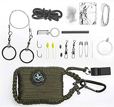A2S Survival Gear Paracord 30pcs Emergency Kit First Aid Kit & Emergency Food finding Fishing Gear & Baits Compass Emergency Whistle Fire Starter set Survival Knife & more from A2S Survival