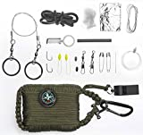 A2S Survival Gear Paracord 30pcs Emergency Kit First Aid Kit & Emergency Food finding Fishing Gear & Baits Compass Emergency Whistle Fire Starter set Survival Knife & more