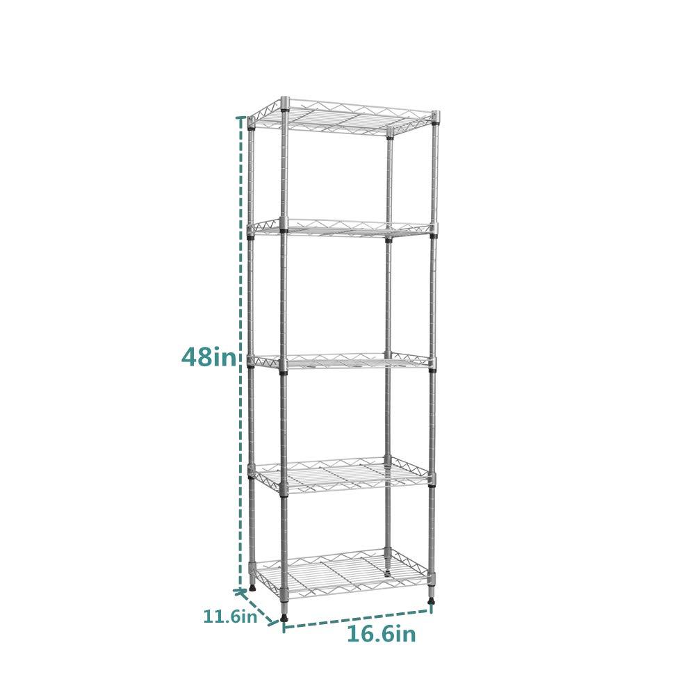 YOHKOH 5 Wire Shelving Metal Rack Adjustable Unit Storage Shelves for Laundry Bathroom Kitchen Pantry Closet Silver