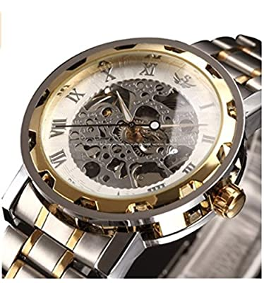 Bing-Lee Men's Classic Skeleton Stainless Steel Mechnical Watch with Link Bracelet