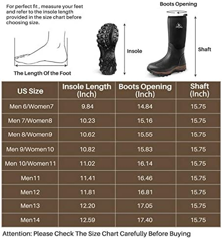 Obcursco Waterproof 6mm Neoprene Rubber Boot for Men and Women Insulated Rain Boot for Outdoor Activity. Ideal for Farm Working, Hunting and Fishing