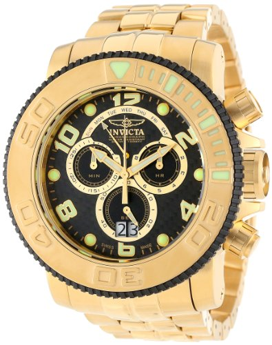 Invicta Men's 10763 Sea Hunter Chronograph Analog Swiss Quartz Gold Ion-Plated Stainless Steel Watch