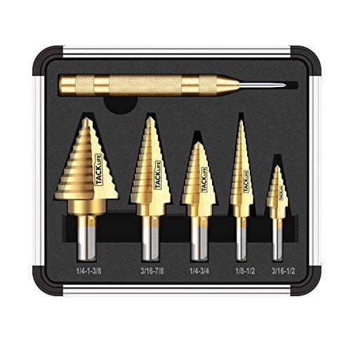 TACKLIFE 5PCS Titanium Step Drill Bit Set & Automatic Center Punch,PDH06A, High Speed Steel Drill Bit Set, 50 Sizes, Double Cutting Blades Design, Aluminum Case