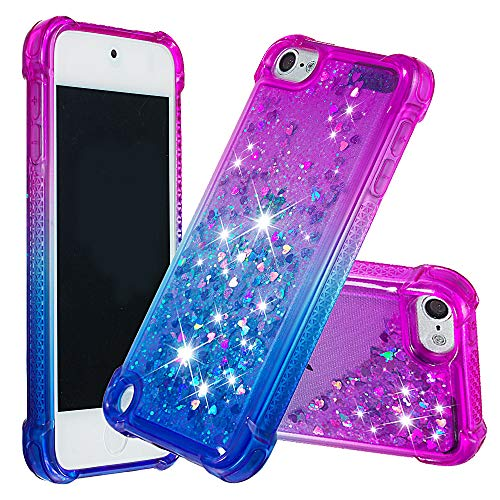 DAMONDY iPod Touch 6 Case,iPod Touch 5, 3D Drop Protection Bling Liquid Glitter Hybrid Heavy Duty Shockproof Bumper Floating Gradient Quicksand Flowing Soft TPU Case for iPod Touch 6th-Purple-Blue