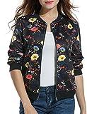 ACEVOG Lady's Floral Print Zip Bomber Jacket Long Sleeve Short Coat Outwear (Black XXL)