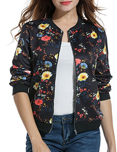 ACEVOG Ladies Classic Bomber Jacket Vintage Zip Up Stylish Biker Coat Sweatshirt (Black - Down Satin Coat
