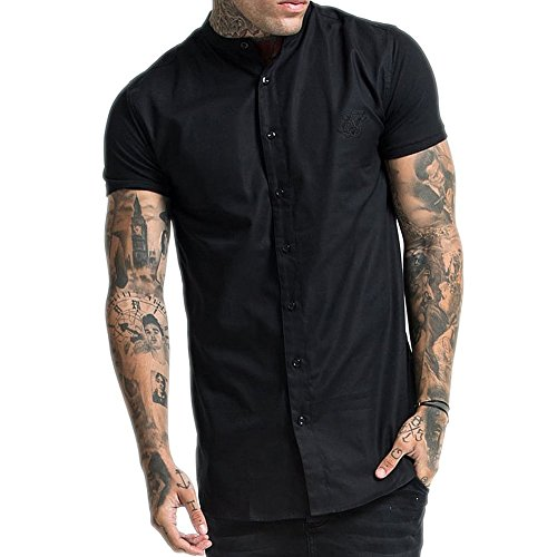 Sik Silk Camicia SikSilk – Grandad Collar Jersey Sleeve Fitted Nero Formato: XS (X-Small)