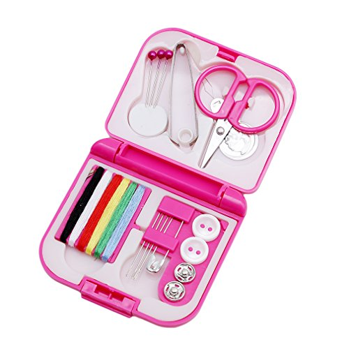 Myhouse Pink Mini Sewing Kit Portable Essential Tools in Storage Case
