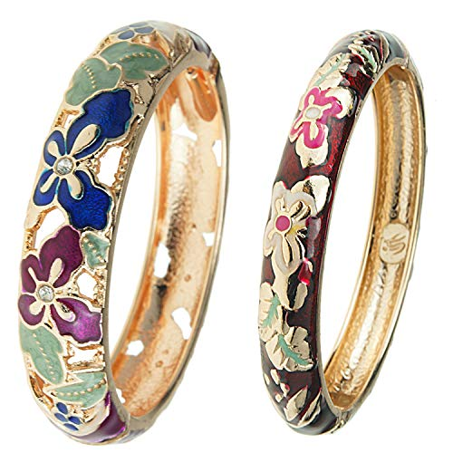 UJOY Vintage Jewelry Cloisonne Handcrafted Enameled Gorgeous Rhinestone Gold Hinged Cuff Bracelet Bangles Gifts 88A09-55A102 Butterfly Purple