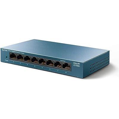 TP-Link Switch 8 Puertos 10/100/1000 (LS108G) Switch ethernet, Switch gigabit, Indicador del estado, chasis metálico ultraligero con Super disipación de calor, QoS