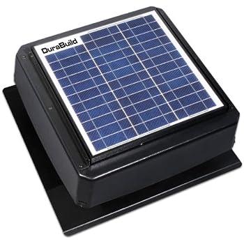 Durabuilt Solar Powered Attic Fan   20 Watt Roof Mount Ventilator With  Adjustable Panel U0026
