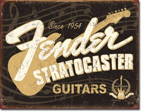 Fender Stratocaster 60th Tin Sign 16 x (Guitar Sign)