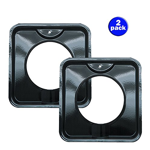 Range Kleen P400 Black Porcelain Square Style I Gas Drip Pan 7.75 Inches (2 pack) (Square Porcelain Pan)