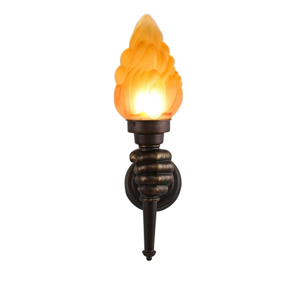 E27 Vintage Wandleuchte Kreativ Fackel Wandlampe Glas Lampe Retro Antik Leuchte für Wohnzimmer Schlafzimmer Küche Aisle Korridor Treppen Bettseite Büro Hotel L13 H48cm