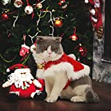 Legendog Cat Costume Christmas Adjustable Cat Santa Clothing with Bell Pet Costumes Pet Apparel for Small Dogs and Cats (Cat Christmas Costume)