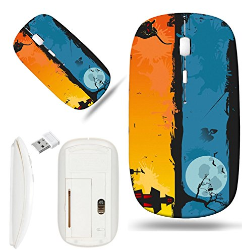 Luxlady Wireless Mouse White Base Travel 2.4G Wireless Mice with USB Receiver, 1000 DPI for notebook, pc, laptop, macdesign IMAGE ID: 32272490 the background of halloween banner set for halloween (Desi Halloween)