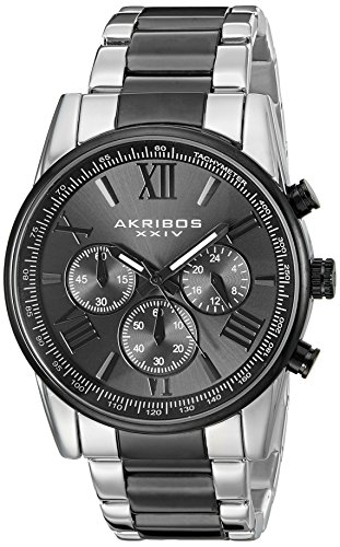 Black Sunburst Roman Dial (Akribos XXIV Men's AK865TTB Round Black-Dial Chronograph Quartz Black and Silver Tone Bracelet Watch)