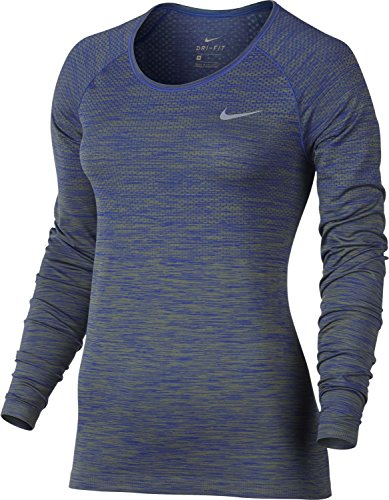 Nike Dri Fit Knit Top Long Sleeve Sz Xl Running Palm Green/Paramount Blue