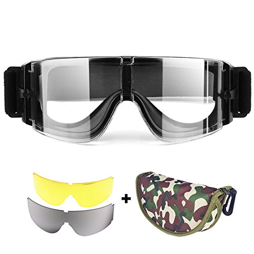 V Airsoft Goggles | 3in1 Tactical Eyewear with Anti-Fog Clear Yellow Lens for UV Protection Paintball Outdoor Sports Game | Slotted Frames Adjustable Strap Band Casing Included | Black | 1485 (Tactical Goggle Clear Replacement Lens)