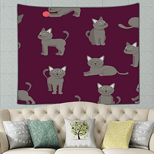 (KATERN Cartoon Tabby Cats Animals Adorable Tapestry Wall Hanging, Wall Tapestries - Summer Cool Psychedelic Wall Blanket for Bedroom, Dorm, Door, Room, 50