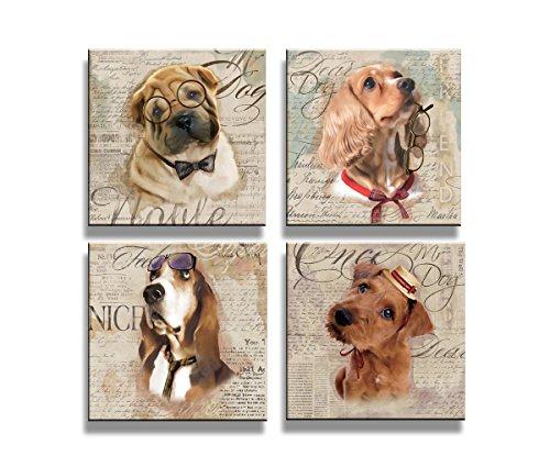 Visario Cuadros en Lienzo 4x20 x 20 cm Nr 6905 los Perros Enmarcado y Listo para Colgar, Calidad de la Marca