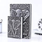XuBa Vintage Style Embossment Thick Paper Notebook Notepad School Office Stationery Supplies Silver A5/Large 100