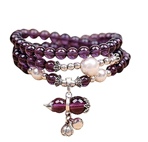 (Natural Amethyst Beads, Healing Stones Gourd Bracelet Chakra Jewelry Good Luck Mala Necklace Thanksgiving Gift Unisex)