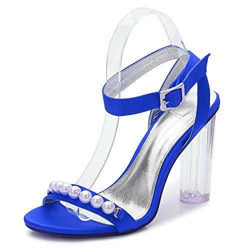 L@YC Mujeres F2615-12 Dama De Honor De La Boda Con Tacones altos De Cristal áSpero Con La Bola abierta Del Partido Del Dedo Blue