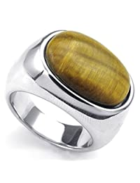 TEMEGO Jewelry Mens Stainless Steel Ring, Classic Tiger Eye Band, Silver