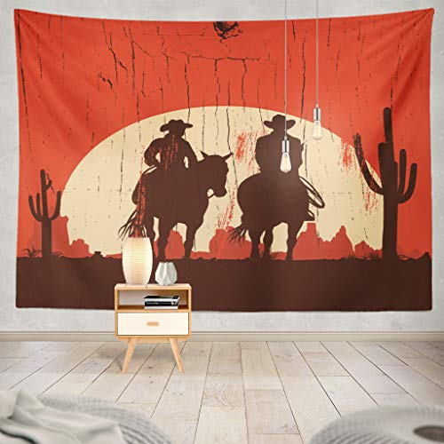 (ONELZ Wall Hanging Tapestry Silhouette Cowboy Couple Wooden Sign Cowboy Wild Western West Decor Collection Bedroom Living Room 60