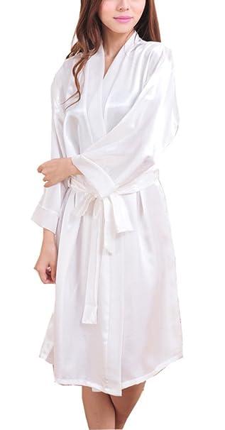 2a2b35aa0e ECHERY Donna Kimono Robe Lungo Accappatoio Raso Seta Vestaglia Estivo Manica  Lunga Pigiama Camicie da Notte Sleepwear Bianco: Amazon.it: Abbigliamento