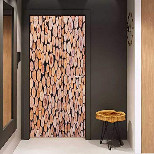 Onefzc Door Wallpaper Murals Rustic Mass of Wood Logs Forest Tree Ecology Industry Group of Cut Lumber Circle Stack Image WallStickers W23 x H70 Cream (Nra Log Book)