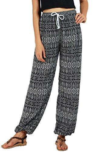 Travel Pants Women - Urban CoCo Women's Floral Print Boho Yoga Pants Harem Pants Jogger Pants (L, 1)