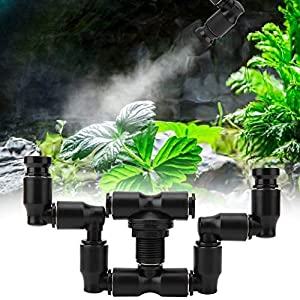 Reptiles Fogger Mist Sprinkler, Double Head 360° Adjustable, Atomization Cooling Reptile Misting System for Rainforest Tank Connect 1/4'' Tub 1