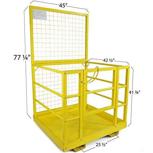 Forklift Safety Cage Work Platform Lift Basket Aerial Fence Rails Yellow 2 man by Titan Attachments (Image #2)