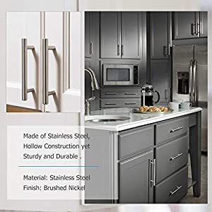 homdiy Brushed Nickel Cabinet Pulls 3 in Hole Center T Bar Cabinet Pulls 20 Pack - HD201SN Brushed Nickel Cabinet Hardware Pulls Modern Drawer Pulls and Knobs for Kitchen, Bathroom, Closet